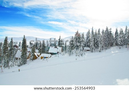 Carpathian Mountains in the snow slope
