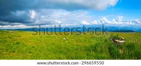 Carpathian mountains in Ukraine: landscape and blue sky in summer - stock photo