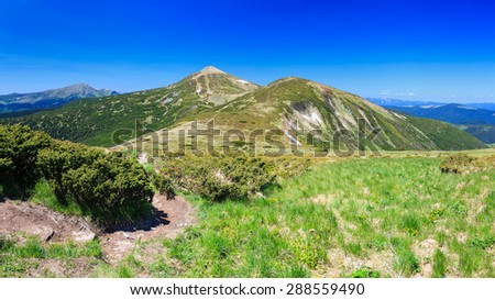 Carpathian mountains on a Sunny day in summer, panorama - stock photo
