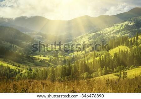 Carpathian mountains summer  landscape with blue sky and clouds, natural sunny background