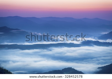 Carpathian mountains summer  sunrise landscape with  foggy river, travel natural background - stock photo