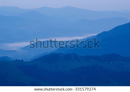 Carpathian mountains summer  sunset landscape with in blue colors, natural background