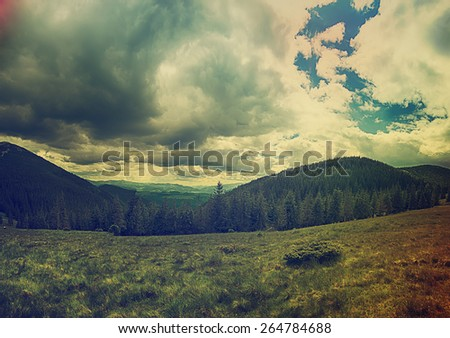 Carpathian mountains summer  vintage landscape with blue sky and clouds - stock photo