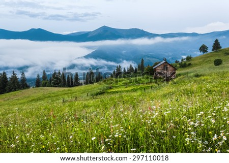 Carpathian Mountains. The house is on a slope in the green grass, fog, mountains in the distance.