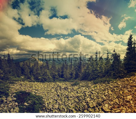 Carpathian mountains vintage amazing hipster  summer  landscape with dramatic sky and rocks - stock photo