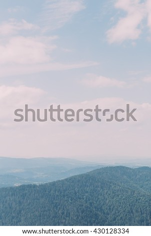 Carpathian pine forest hills landscape under majestic blue sky with high clouds - stock photo
