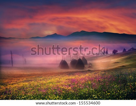 Carpathian Summer is the warmest and beautiful time of year, the abundance of flowers, clear lakes, lush alpine meadows of grass, fresh air attract people from cities Sunset in the mountainous perfect - stock photo