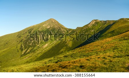 Carpathians mount Hoverla (The highest mountain in Ukraine). Panoramic view.