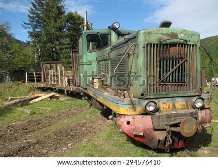 Carpathians, UKRAINE, The narrow-gauge railway train for forest harvesting - stock photo