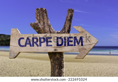 Carpe Diem wooden sign with a beach on background - stock photo