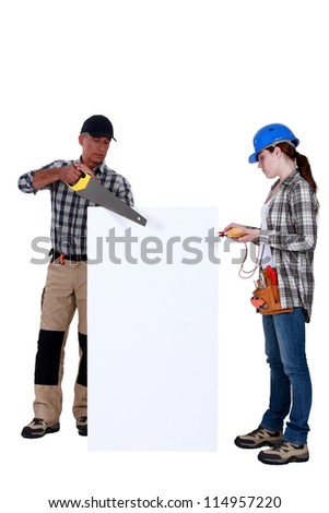 Carpenter and electrician - stock photo