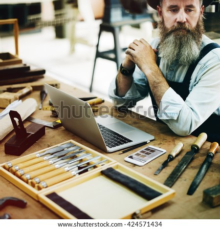 Carpenter Career Handicraft Wooden Woodwork Concept - stock photo