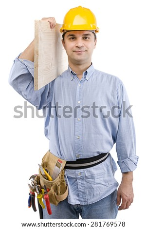Carpenter carrying piece of wood isolated on white background.