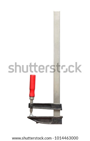 Carpenter clamps on a white background to mean an industrial concept