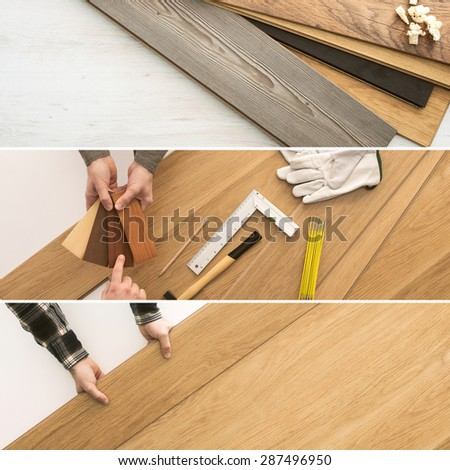 Carpenter installing wooden flooring  planks, home renovation and improvement concepts banners set - stock photo