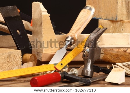 carpenter's tools close up on work bench