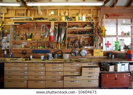 Carpenter's workshop - stock photo