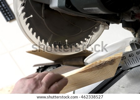 Carpenter tools on wooden table with sawdust. Carpenter workplace top view.