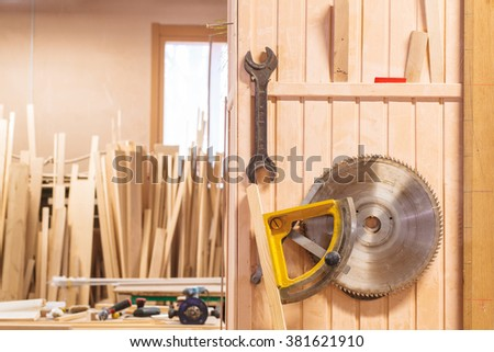 carpenter wood workroom tool instruments - stock photo