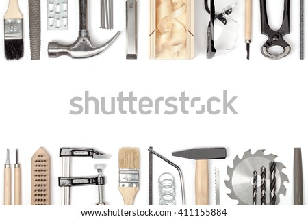 carpentry and woodwork tools on white background. carpenter working table. frame composition with copy space top view - stock photo