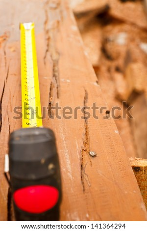 carpentry ,create furniture by wood - stock photo