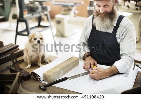 Carpentry Skill Dog Draft Blueprint Craft Design Concept - stock photo