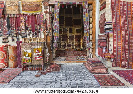 Carpet and rug shop. - stock photo