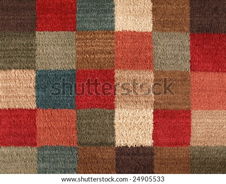Carpet Texture Multiple Color Square in Pattern - stock photo