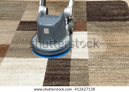 Carpets chemical cleaning with professionally disk machine. Early spring cleaning or regular clean up.