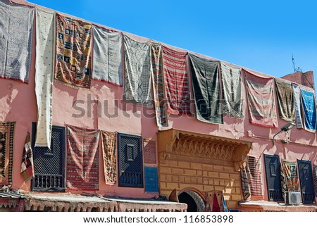 carpets in front of the house. Morocco