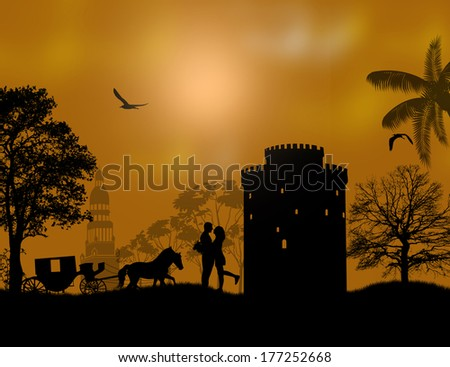 Carriage and lovers at night on beautiful landscape illustration