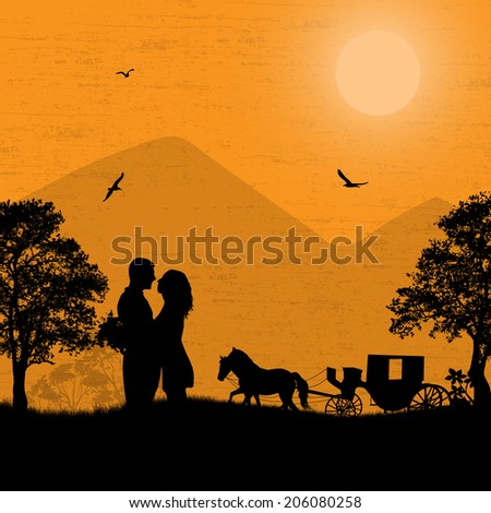 Carriage and lovers at sunset on beautiful landscape, background illustration
