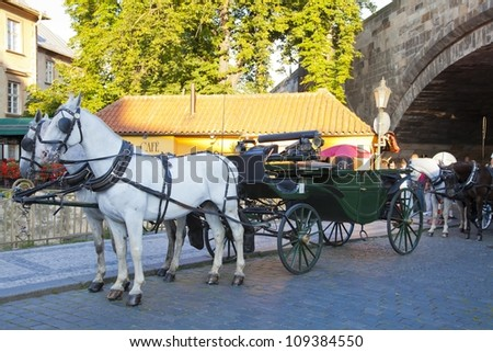 Carriage below the Charles Bridge in Prague - stock photo