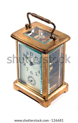 Carriage clock isolated with white background