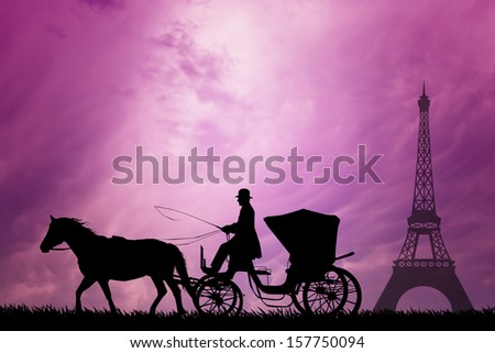 Carriage in Paris city - stock photo