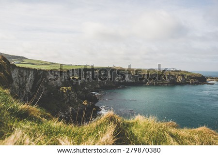Carrick a Rede, Giants Causeway Coastal Footpath, County Antrim, Northern Ireland - stock photo