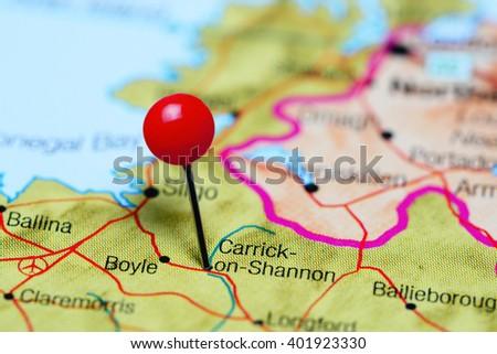 Carrickonshannon Pinned On Map Ireland Stock Photo 401923330