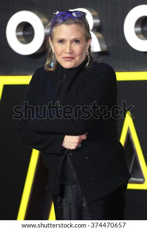 "Carrie Fisher at the European premiere of ""Star Wars: The Force Awakens"" in Leicester Square, London.  December 16, 2015  London, UK Picture: James Smith / Featureflash"
