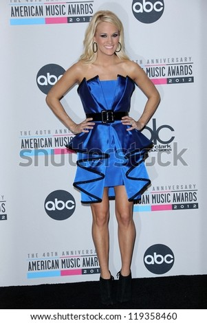 Carrie Underwood at the 40th American Music Awards Press Room, Nokia Theatre, Los Angeles, CA 11-18-12