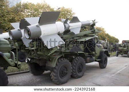 carrier cruise missiles on the street - stock photo