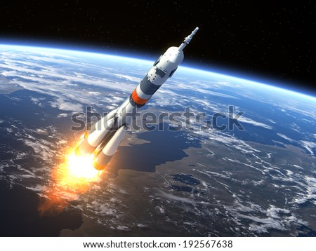 Carrier Rocket Launch. 3D Scene. Elements of this image furnished by NASA.  - stock photo