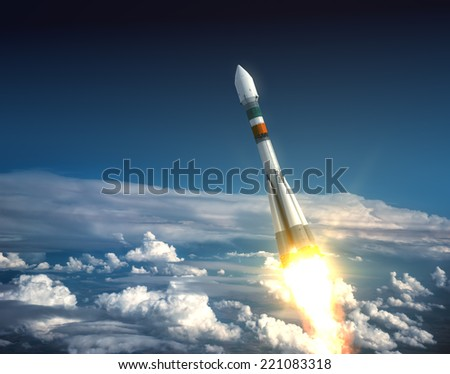Carrier Rocket Take Off. 3D Scene. - stock photo