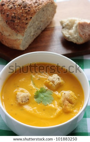 Carrot and coriander soup - stock photo