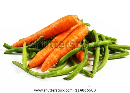 carrot and green beans on a white background