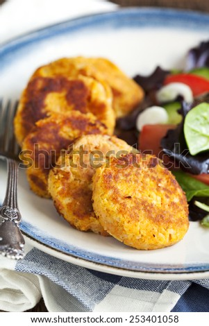 Carrot and potato pancakes - stock photo