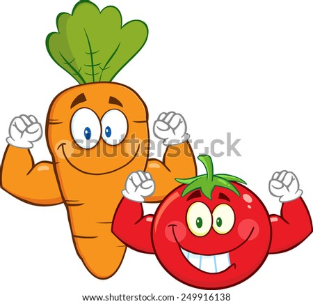 Carrot And Tomato Cartoon Mascot Characters Showing Muscle Arms. Raster Illustration Isolated On White - stock photo