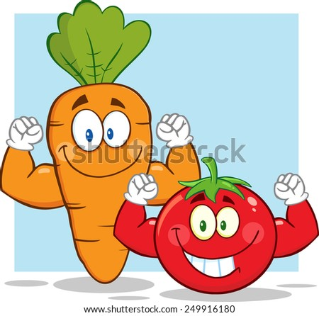 Carrot And Tomato Cartoon Mascot Characters Showing Muscle Arms. Raster Illustration With Background - stock photo