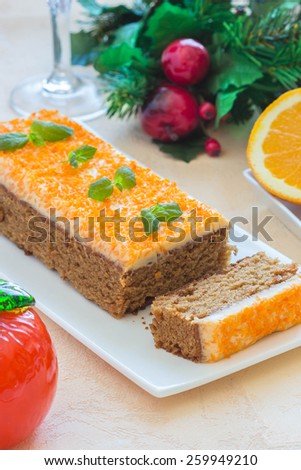 Carrot cake for Christmas, selective focus at front - stock photo