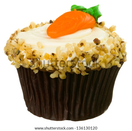 Carrot Cupcake with Cream Cheese Frosting Isolated on White - stock photo