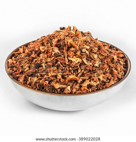 Carrot Dried sliced vegetables in bowl semi-finished product ingredient for Cooking - stock photo